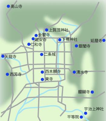 京都の世界遺産マップ